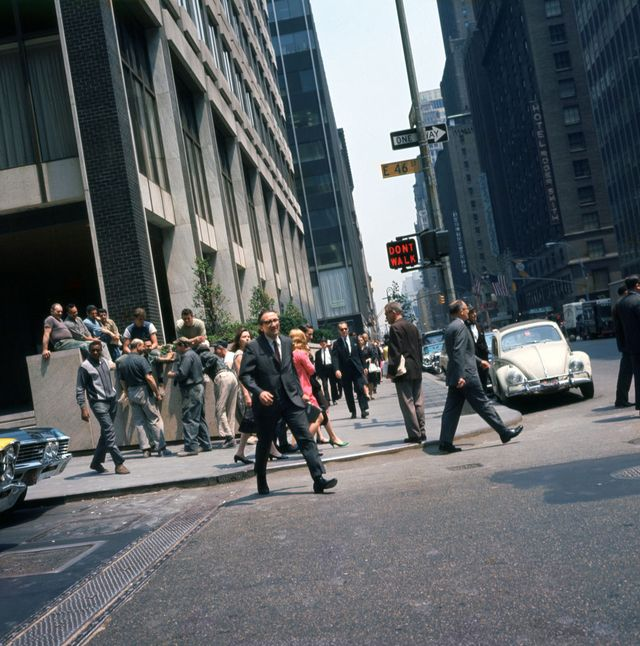 1st june 1967 new york city   crowds gather on the sidewalks and steps of buildings at the intersection of east 46th street and lexington avenue in midtown manhattan photo by walter leporatigetty images