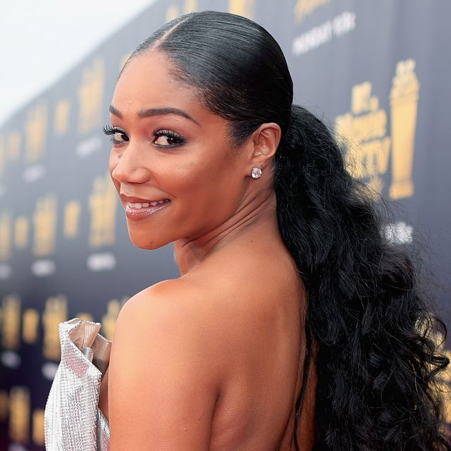 santa monica, ca   june 16  host tiffany haddish attends the 2018 mtv movie and tv awards at barker hangar on june 16, 2018 in santa monica, california  photo by christopher polkgetty images for mtv