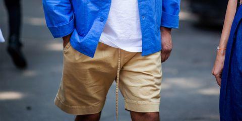 Blue, Clothing, Fashion, Shorts, Outerwear, Pocket, Street fashion, Human, Denim, Footwear,