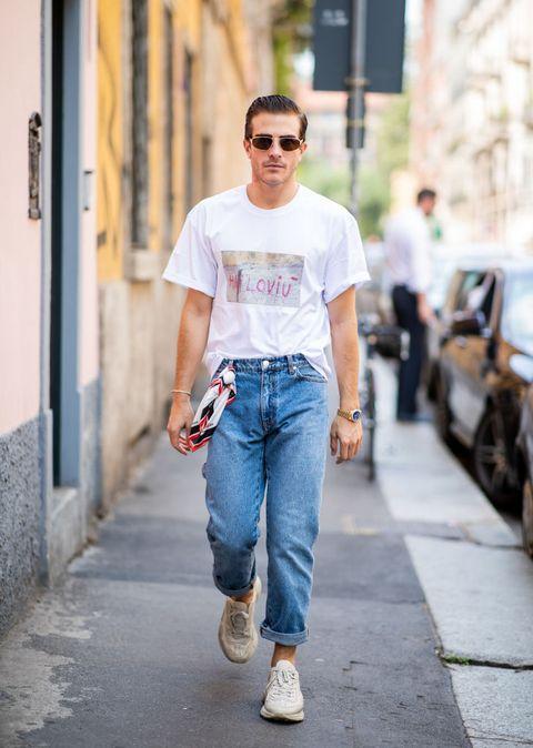Jeans, Denim, Clothing, White, Street fashion, Photograph, T-shirt, Fashion, Eyewear, Snapshot,