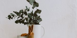 Coffee cup, croissant, Kitchen utensils and eucalyptus in a jug