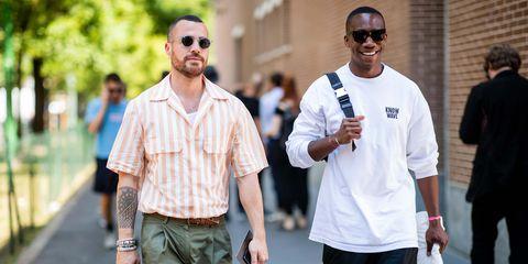 White, People, Street fashion, Eyewear, Fashion, Walking, Street, Human, Fun, Glasses,