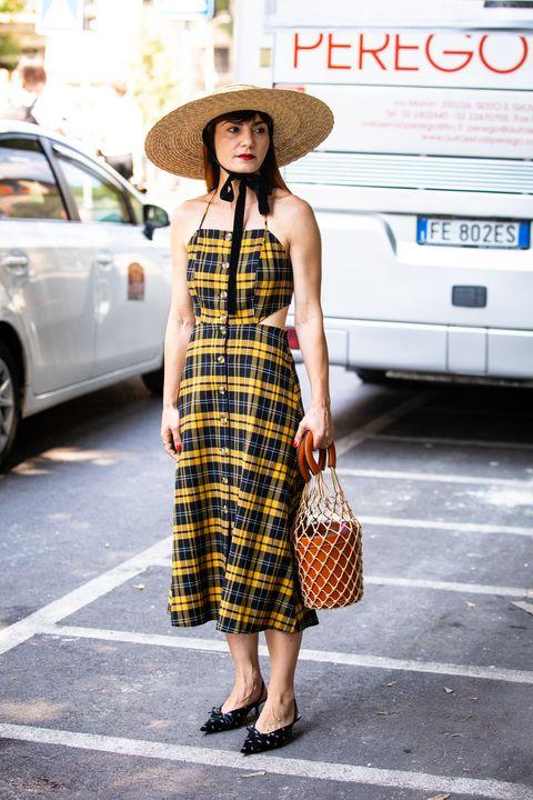 Plaid, Clothing, Tartan, Street fashion, Pattern, Fashion, Dress, Shoulder, Snapshot, Design,