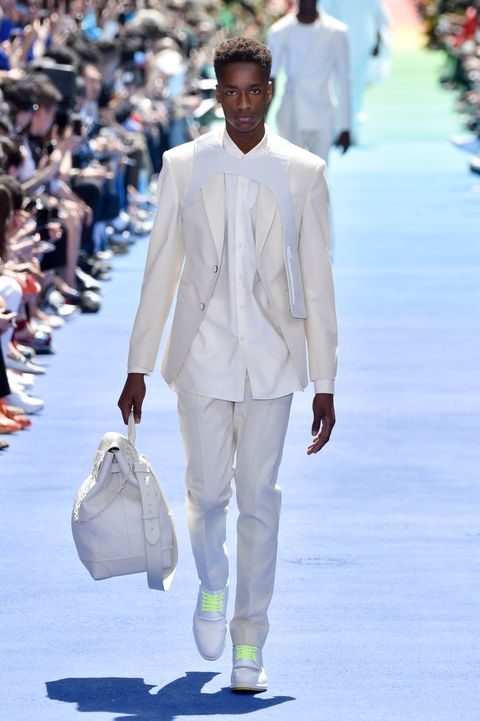 Fashion, White, Fashion model, Runway, Fashion show, Suit, Footwear, Spring, Haute couture, Event,