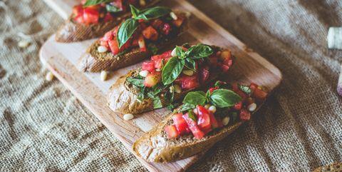 Dish, Food, Cuisine, Bruschetta, Ingredient, appetizer, Finger food, Bread, Produce, Staple food,