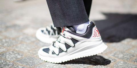 Footwear, White, Shoe, Street fashion, Sportswear, Fashion, Sneakers, Plimsoll shoe, Leg, Carmine,