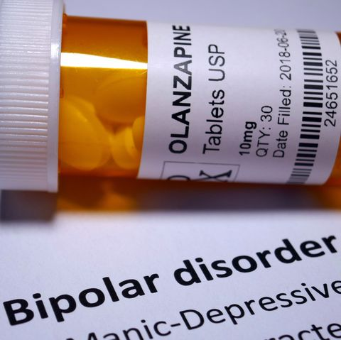 Olanzapine tablets in a bottle