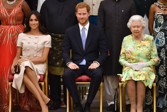 london, england   june 26 meghan, duchess of sussex, prince harry, duke of sussex and queen elizabeth ii at the queens young leaders awards ceremony at buckingham palace on june 26, 2018 in london, england the queens young leaders programme, now in its fourth and final year, celebrates the achievements of young people from across the commonwealth working to improve the lives of people across a diverse range of issues including supporting people living with mental health problems, access to education, promoting gender equality, food scarcity and climate change  photo by john stillwell   wpa poolgetty images