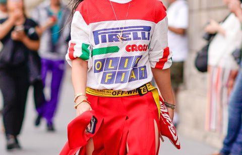 Street fashion, People, Clothing, Red, Fashion, Footwear, Costume, Recreation, T-shirt, Shoe,