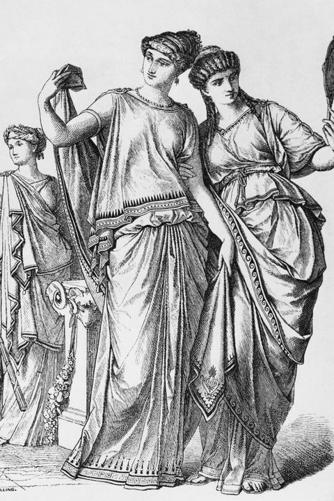 three roman ladies wearing the traditional stola or dress, circa 50 ad published in 'the history of costume' by braun  schneider photo by hulton archivegetty images