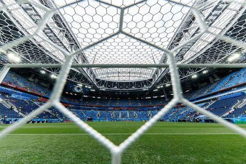 Sport venue, Goal, Stadium, Soccer-specific stadium, Arena, Grass, Net, Architecture, International rules football, Sports equipment,