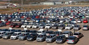 Hundreds of cars are seen parked on May