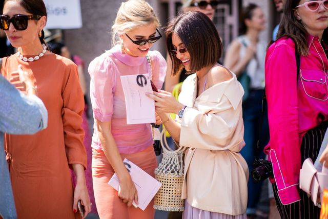 paris, france   july 01 xenia adonts wearing sheer pink blouse and pencil skirt, chanel bag seen outside acne studios during paris fashion week haute couture fw18 on july 1, 2018 in paris, france photo by christian vieriggetty images