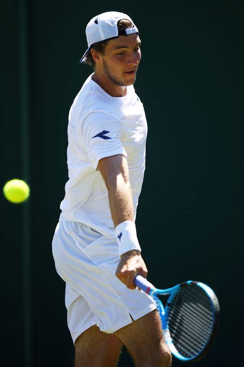 Tennis player, Tennis, Tennis racket, Tennis racket accessory, Tennis court, Racket, Tennis Equipment, Blue, Soft tennis, Racquet sport,