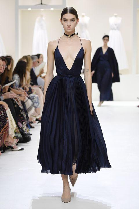 Fashion model, Fashion show, Fashion, Runway, Clothing, Dress, Haute couture, Gown, Fashion design, Model,