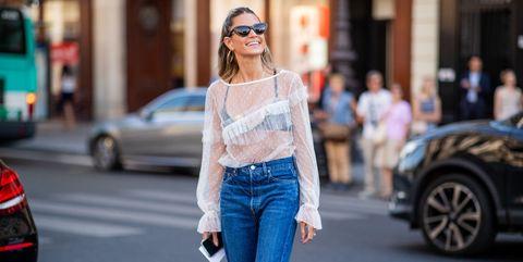 Jeans, Street fashion, Clothing, Fashion, Denim, Shoulder, Waist, Beauty, Eyewear, Snapshot,