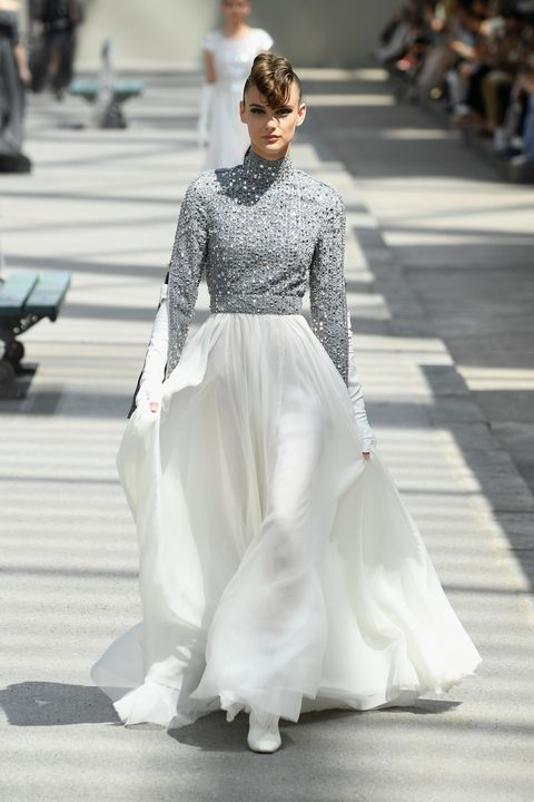 Fashion model, White, Fashion, Clothing, Dress, Gown, Haute couture, Runway, Fashion show, Street fashion,