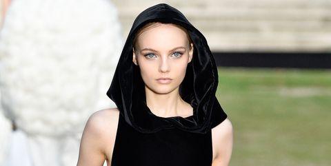 Fashion model, Clothing, Black, Fashion, Dress, Beauty, Little black dress, Haute couture, Fashion show, Model,
