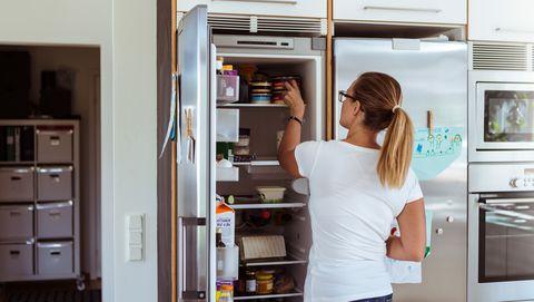 Refrigerator, Room, Major appliance, Furniture, Home appliance, Cabinetry, Kitchen appliance, Cupboard, Door, Kitchen,