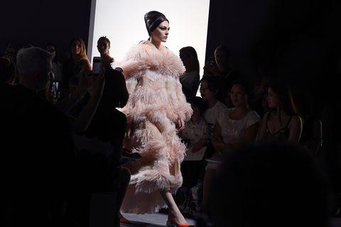 Fashion, Dress, Fashion design, Haute couture, Event, Fur, Runway, Performance, Gown, Textile,