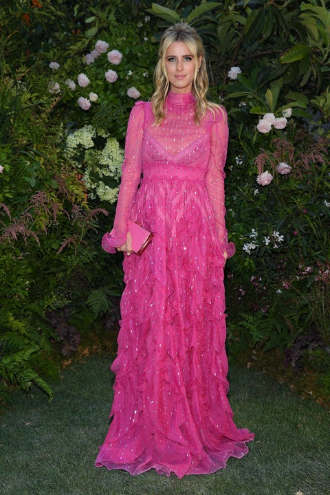 Clothing, Pink, Dress, Gown, Formal wear, Fashion, Magenta, Long hair, Day dress, Haute couture,