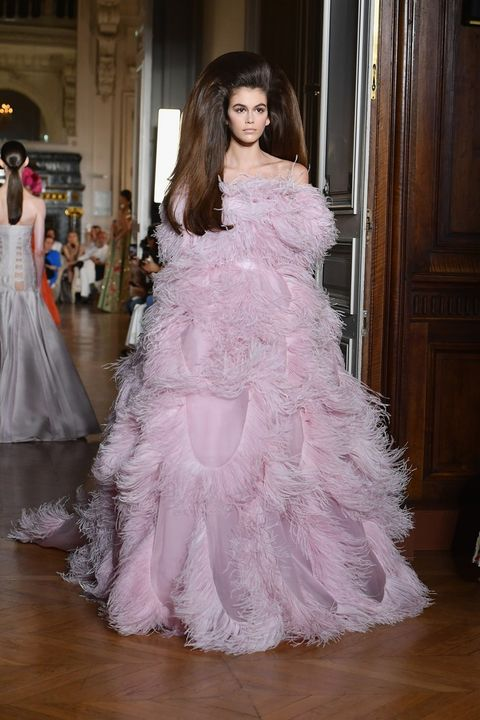Gown, Dress, Clothing, Shoulder, Wedding dress, Pink, Haute couture, Bridal party dress, Fashion, Fashion model,