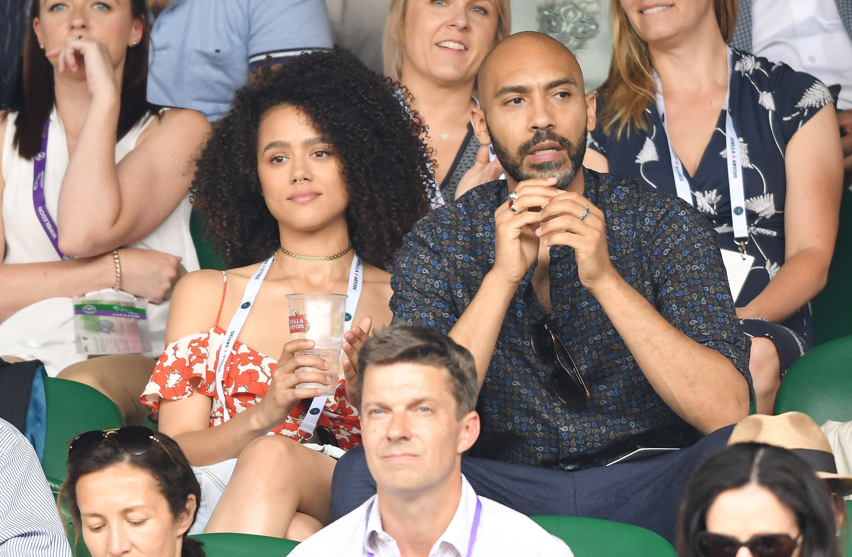 Nathalie Emmanuel (Missandei) and Alex Lanipekun News of the romance brewing between the actors broke in 2018 .