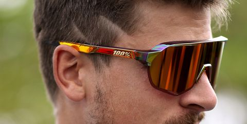 Peter Sagan Wearing 100% Limited Edition S2 Chromium Red Sunglasses