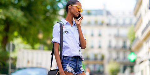 Street fashion, Denim, Jeans, Clothing, Fashion, Textile, Shorts, Shirt, Photography, Eyewear,