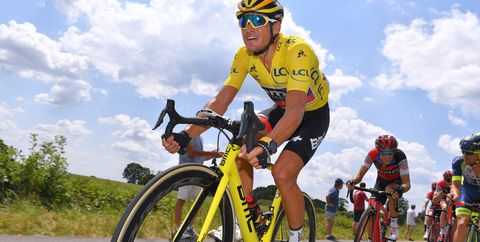 Greg Van Avermaet in Maillot Jaune (Yellow Jersey) onStage 4 of the2018 Tour de France