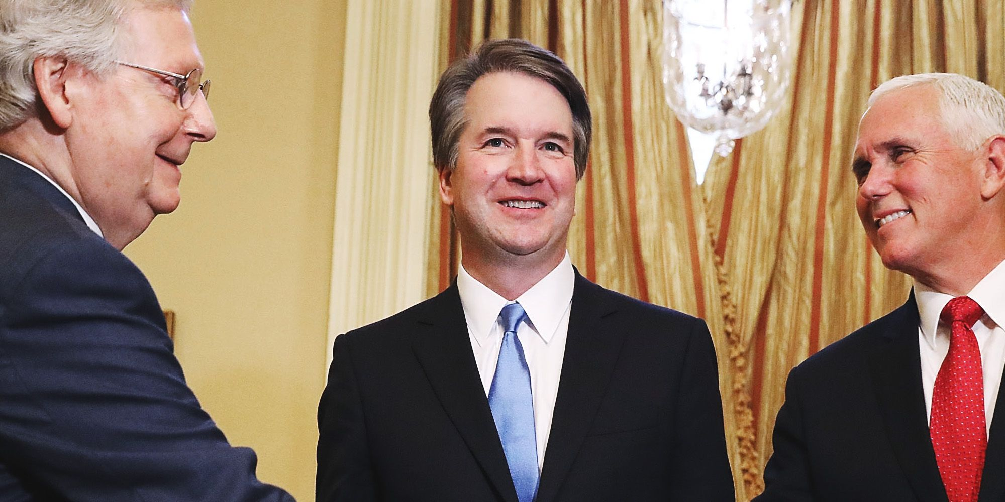 judge brett kavanaugh with mitch mcconnell and Mike Pence