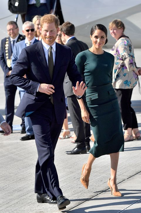 Meghan Markle In Green Givenchy Dress With Prince Harry Arrive For