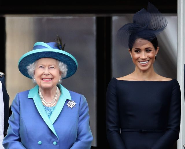 london, england   july 10 queen elizabeth ii and meghan, duchess of sussex watch the raf flypast on the balcony of buckingham palace, as members of the royal family attend events to mark the centenary of the raf on july 10, 2018 in london, england  photo by chris jacksongetty images