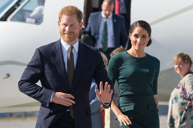 dublin, ireland   july 10 meghan, duchess of sussex and prince harry, duke of sussex arrive at the airport for their visit to ireland on july 10, 2018 in dublin, ireland photo by dominic lipinski   poolgetty images