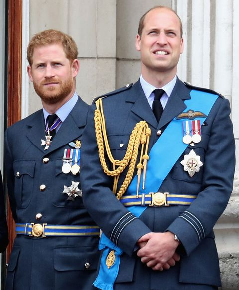 london, england   july 10  l r prince william, duke of cambridge and prince harry, duke of sussex watch the raf flypast on the balcony of buckingham palace, as members of the royal family attend events to mark the centenary of the raf on july 10, 2018 in london, england photo by chris jacksonchris jacksongetty images  photo by chris jacksongetty images