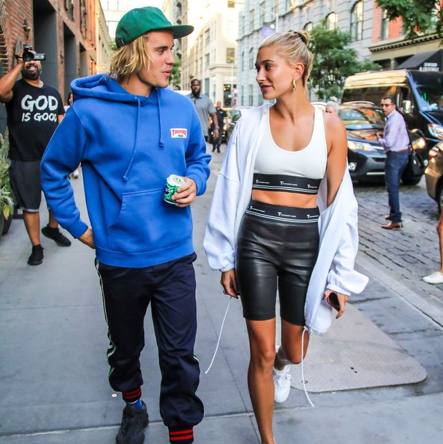 new york, ny   july 12  justin bieber and hailey baldwin are seen heading to dinner in dumbo on july 12, 2018 in new york, new york  photo by alessio botticelligc images