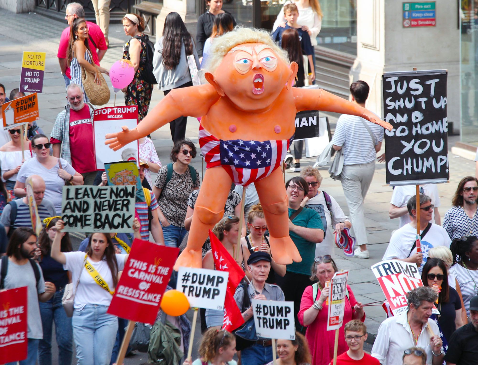 The 25 Cheekiest Signs From the London Trump Protests