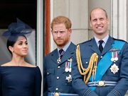 london, united kingdom   july 10 embargoed for publication in uk newspapers until 24 hours after create date and time meghan, duchess of sussex, prince harry, duke of sussex, prince william, duke of cambridge and catherine, duchess of cambridge watch a flypast to mark the centenary of the royal air force from the balcony of buckingham palace on july 10, 2018 in london, england the 100th birthday of the raf, which was founded on on 1 april 1918, was marked with a centenary parade with the presentation of a new queen's colour and flypast of 100 aircraft over buckingham palace photo by max mumbyindigogetty images