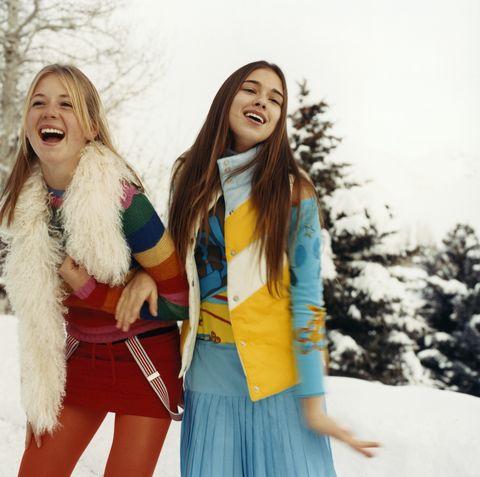 Facial expression, Fun, Yellow, Smile, Friendship, Fashion, Winter, Happy, Fur, Street fashion,