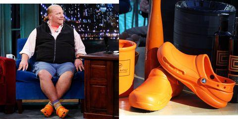 Footwear, Orange, Shoe, Yellow, Leg, Boot, Clog, Sitting, Human leg, Foot,