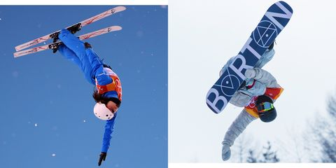 Skier, Freestyle skiing, Slopestyle, Winter sport, Snowboarding, Extreme sport, Recreation, Sports, Flip (acrobatic), Snowboard,