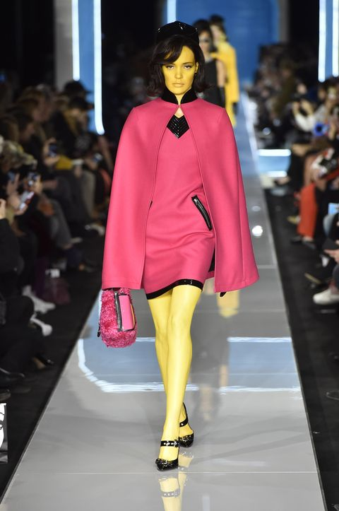Fashion, Fashion model, Fashion show, Runway, Clothing, Pink, Fashion design, Footwear, Haute couture, Outerwear,