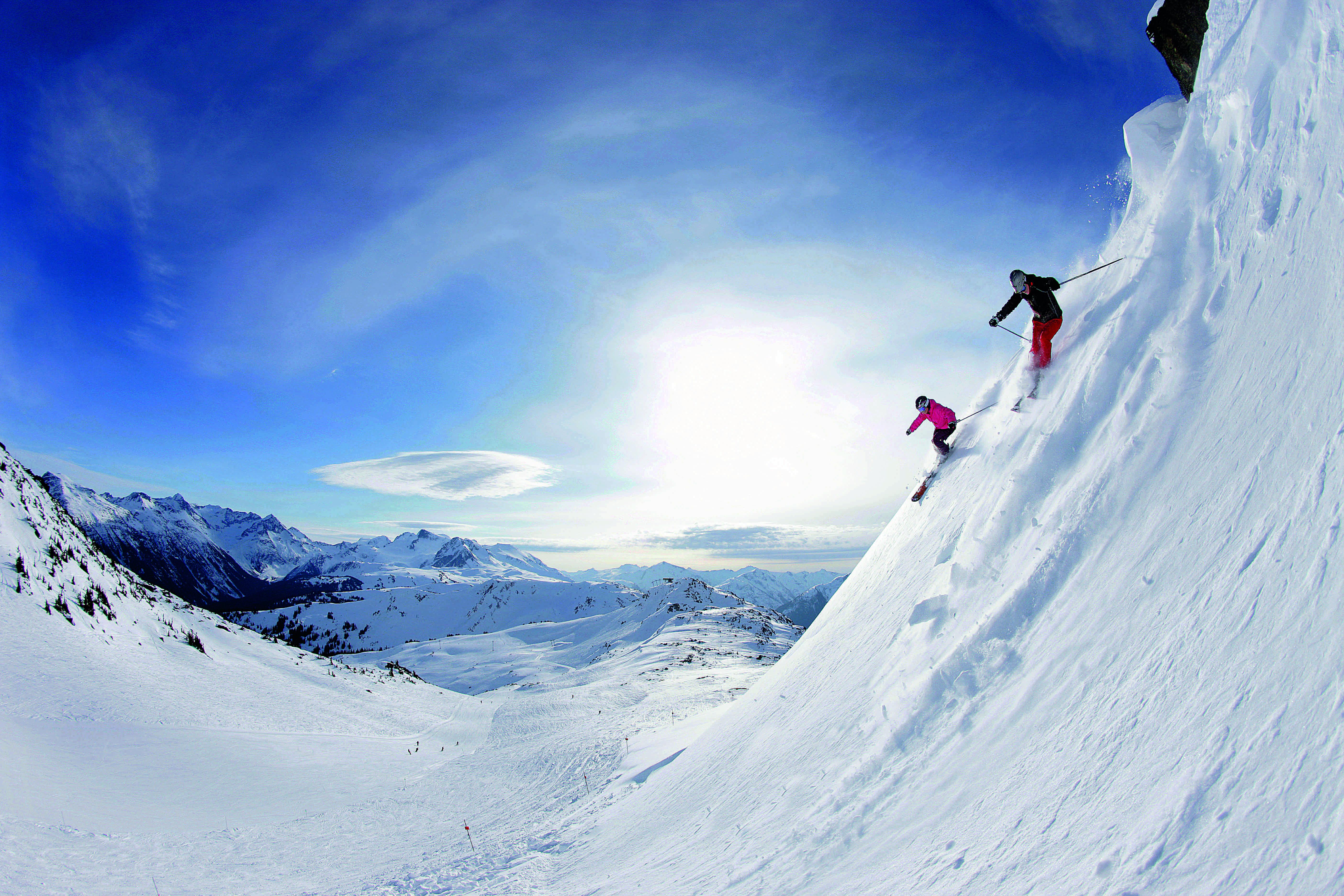Downhill skiing, Symphony Bowl, Whistler, British Columbia, Canada