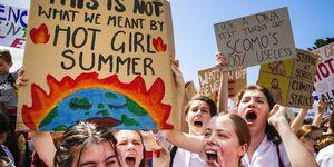 Gevatte protestborden klimaatverandering
