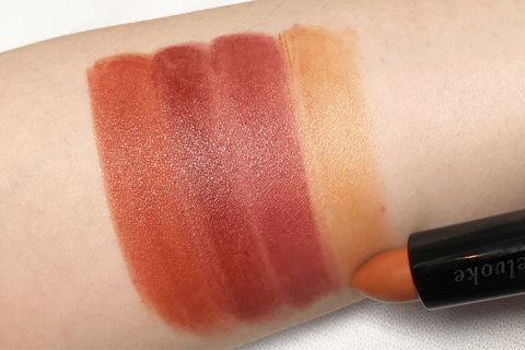 Cosmetics, Red, Lipstick, Orange, Pink, Lip, Peach, Tints and shades, Material property, Lip gloss,