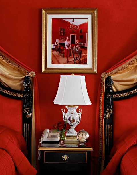 Red, Room, Furniture, Interior design, Table, Classic, Living room, Still life photography, Antique, Nightstand,
