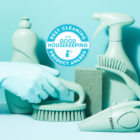 blue cleaning supplies with good housekeeping's cleaning awards logo