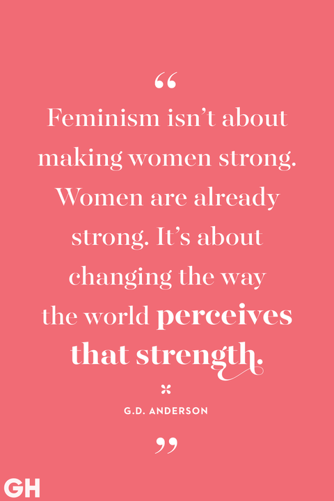 white feminism quote on a pink background