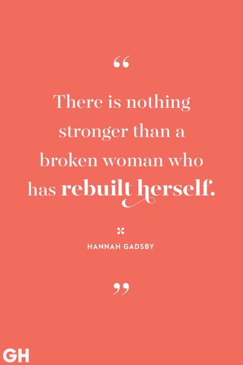 white feminism quote on a salmon background