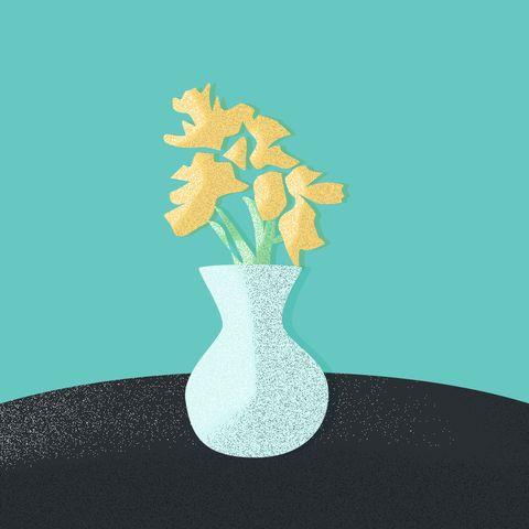 Vase, Illustration, Yellow, Artifact, Plant, Flower, Still life, Tree, Plant stem, Still life photography,